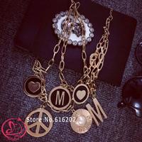 brand fashion necklaces for women 2014 vintage pendant necklace M letter peace metal choker necklace women statement jewelry