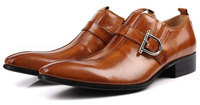 KUTA NEW  2014 Fashion Buckle Shoes Comfortable Leather Work Shoes British style Pointed Toe Men's Shoes Plus Size 44 45