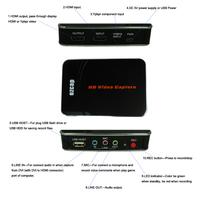 Wholesales 3pcs HDMI Video Audio Capture Box HDMI/YPBPR RGB input USB/MIC/3.5mm Audio Output Recorder Records 1080P in USB Flash
