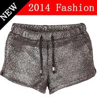 shorts femininos 2014 hot fashion shorts women running party gold woman short casual brand pants leather bermuda 901LX