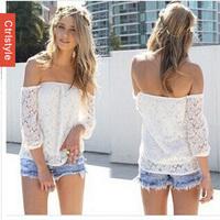 Wholesale/Retail Ctrlstyle Brand Lace Slash Neck Off Shoulder Blusas Femininas 2014 Fashion Women Blouse+Free Shipping Dropship