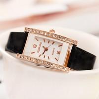 Top Brand Dress Watches 2014 New Fashion Quartz Watches Women Rhinestone Dress Watches PU Leather Casual Wristwatches Black Sale