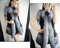 Winter 2014 The latest style hot sale high quality Russian silver fox rabbit women fur vest coat-083