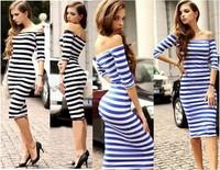 Vestido De Verao 2014 Longos De Verao Vestidos Casuais Manga Longa Vestido Azul Women Striped Dress Size:S-XL