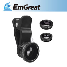 Universal 3 in 1 Chip-on Photo Lenses Lente Olho de Peixe Fisheye Fish Eye Wide Angle for Iphone HTC Samsung Smartphone P0015692