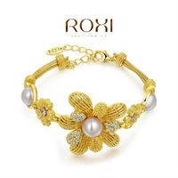 ROXI ANxury 18k yellow gold plat flower pearl bracelets,Top High quality,Christmas gift,factory price 2060035820B