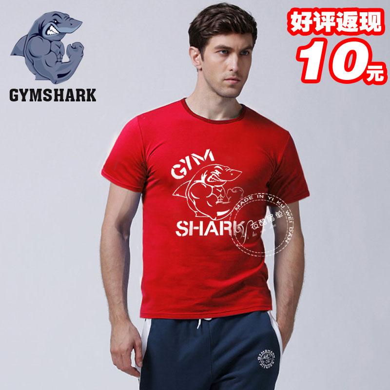 Algodão Gorilla Wear clássico T -shirt Gym Muscle tee de manga curta dos homens de Fitness & Musculação soltos fato de treino 1pcs tubarão(China (Mainland))