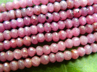 Free shipping  natural 3*5mm faceted rondelle  red ruby  stone beads