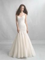 Custom Size Mermaid wedding dress V-Neck Spaghetti Strap Court Train Organza Floor-Length White Ivory Wedding gown bridal Dress
