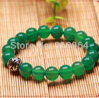 D633 Fashion Jewelry National Green Agate Beads 8mm Thai Silver Ball Buddha Energy Lucky Healthy Shamballa Bracelets