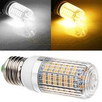 New 2pcs/lot E26 E27 700-LM 5.5W 120 SMD 3528 LED Light Corn Bulb Lamp Pure Warm White w/Stripe Cover 85-265V Free shipping