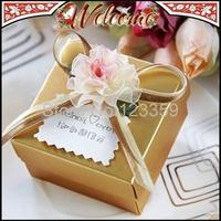 Free Fedex Gold Flower With Bowknot Ribbon Candy Box Wedding box Wedding Favors Wedding decoration Wedding Party Gift box