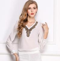 2014 Autumn big size tops fashion European long sleeve V collar Pure color copper beads chiffon women shirt