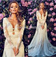 Sheath V-Neck Long Sleeves Lace Applique Sheer Tulle Beads Dress Designer Wedding Dresses Bridal Wear Chapel Train Free Shipping