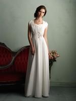 Custom Size Beach wedding dresses Luxury Short Sleeve Chiffon Floor-Length White Ivory Wedding gown bridal Dress
