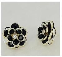 4pairs/lot Small black Phnom Penh rose petal Earrings A1184
