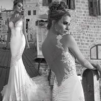 2015 Spring Mermaid Spaghetti Straps Lace Backless Open Back Designer Wedding Dresses Bridal Wear Chapel Train Free Shipping