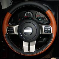 XuJi Black Orange Genuine Leather Suede Steering Wheel Cover for Jeep Compass Grand Cherokee Wrangler Patriot 2012 2013 2014
