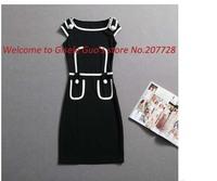 Promotion party dresses 2014 Super Star dress sexy womens dresses size M L black color casual style