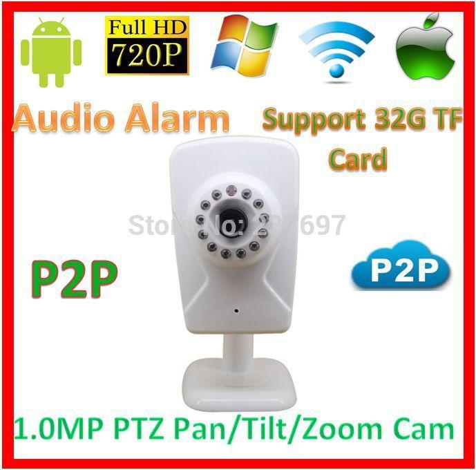 Security 720p wifi p2p PTZ IP Baby Moniter Kamera CCTV Support 32GB SD TF Card Audio Alarm Wireless1.0MegaPixel Network WebCam(China (Mainland))