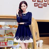 2014 Autumn Globone Autumn autumn new cotton dress sleeve cuffs. Elegant fashion dree free shipping