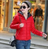 2014 Winter women Two Side Coats,5 colors L-XXXL Plus Size women's Coat,Solid Cotton&Down Jackets,Hooded outwear