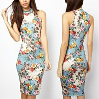 2014 new Fashion Sexy Womens Sleeveless Floral Printed Bodycon Slim Fit Party vestido slong summer dress #Y411 Free shipping