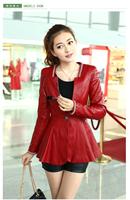 2014 spring Women slim outerwear medium-long motorcycle leather 14ap11 PU