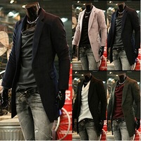 fashion Men's pure color Rest contracted trench coat