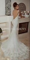 custom size Mermaid wedding dress New White/Ivory Sexy backless Lace Mermaid Bridal Gown Fashion  4-6-8-10-12-14-16+