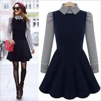 Free shipping 2014 Hitz Stitching Doll Collar Temperament Slim Long-Sleeve Dress Autumn And Winter Dress High Quality