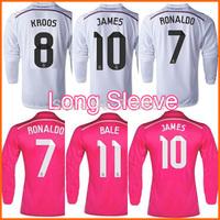 Ronaldo Kroos Real Madrid Long Sleeve Jerseys  14/15 James CHICHARITO Real Madrid LS Jersey White 2015 Kit Bale Ramos Pink Shirt