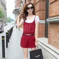 New arrival 2014 slim waist pants bib shorts twinset set clothing female 8001
