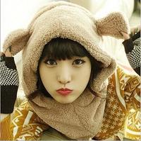 Multi-piece sets  Korean cute stuffed bear hat scarf windproof one ear sprouting rabbit ears sell wholesale scarf