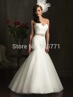 Custom Size Wedding Dress  Mermaid White/Ivory Sweetheart Lace Beading Floor Length Bridal Gown Free shipping