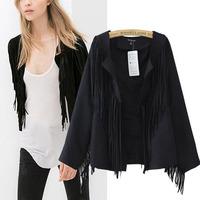 New 2014 Autumn European Retro Tassel Kimono Cardigan Ladies Jacket Tops Women Shawl Suede Outwear Jaqueta Feminina 2 colors