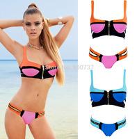 New Hot Selling 2014 Sexy Womens Zipper Bikini Set Shoulder Strap Swimsuit Strappy Swimwear Bathingsuit  Push Up Bikinis T168
