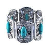 Women natural Green Turquoise Beads Bracelet,Korean fashion bohemian bracelet, retro wide butterfly bangles, female vintage