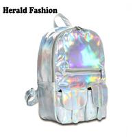 New 2014 Promotion Silver Hologram Laser Backpack Leather Bag Multicolor Silver Women Backpack School Bag Bolsas Mochilas