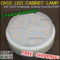 1pc/lot 7 watt gx53 base surface mounted LED under cabinet lamp 5050SMD 24mm thick closet cupboard hot sale spot lights