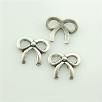 100pcs 11*9mm bow charms antique silver tone bow Pendant