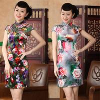 chinese Short sleeve silk printing dress qipao Cheongsam 140430 size 30-38