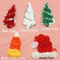 DHL FREE shipping Hair accessories 200pcs  Chiffon Christmas Santa Hats,Chiffon Christmas tree