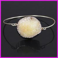 Wholesale 5PCS Crystal Yellow Druzy Gem Stone Bangle,Freeform Quartz Cuff Bangle,Delicate Modern Jewelry Bracelet
