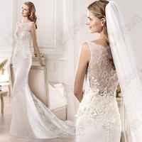 2015 Spring Sheath Sleeveless Round Neck Lace Transparent yadira Designer Wedding Dresses Elie Saab Free Shipping
