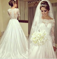 qn-134 wedding dress 2014 new custom made bridal gown see through long sleeve scoop close back lace chiffon long sweep train