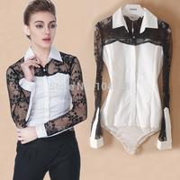 autumn new style Lace Patchwork OL Long sleeve office lady Occupation body shirt blouse wholesale cheap bodysuits shirt vciv33