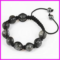Wholesale 10pcs Grey Agate Beaded Macrame bracelet,Round Beads Wraped Braiding Bracelet Jewelry