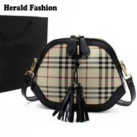 European and American Style Famous Brand Women Handbag Tartan Design Tassel Women Messenger Bags Casual Small Mini Shell Bag