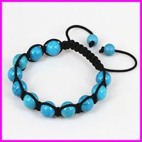Wholesale 10pcs Blue Turquoise Agate Beaded Macrame bracelet,Round Beads Wraped Braiding Bracelet Jewelry